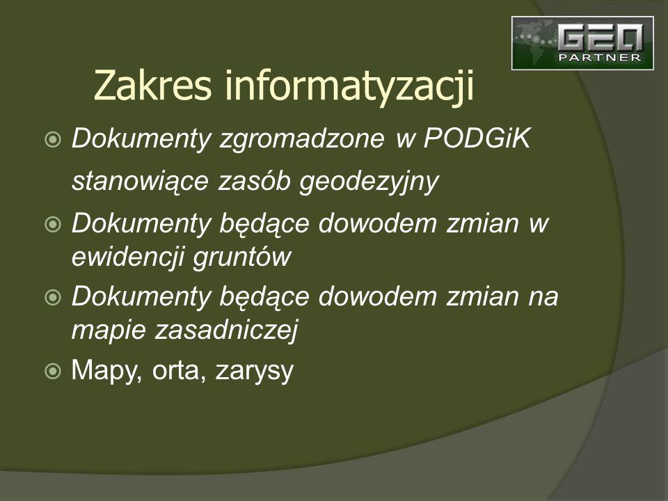 Dokumenty zgromadzone w PODGiK stanowiące zasób geodezyjny Dokumenty będące dowodem zmian w ewidencji gruntów Dokumenty będące dowodem zmian na mapie zasadniczej Mapy, orta, zarysy Zakres informatyzacji