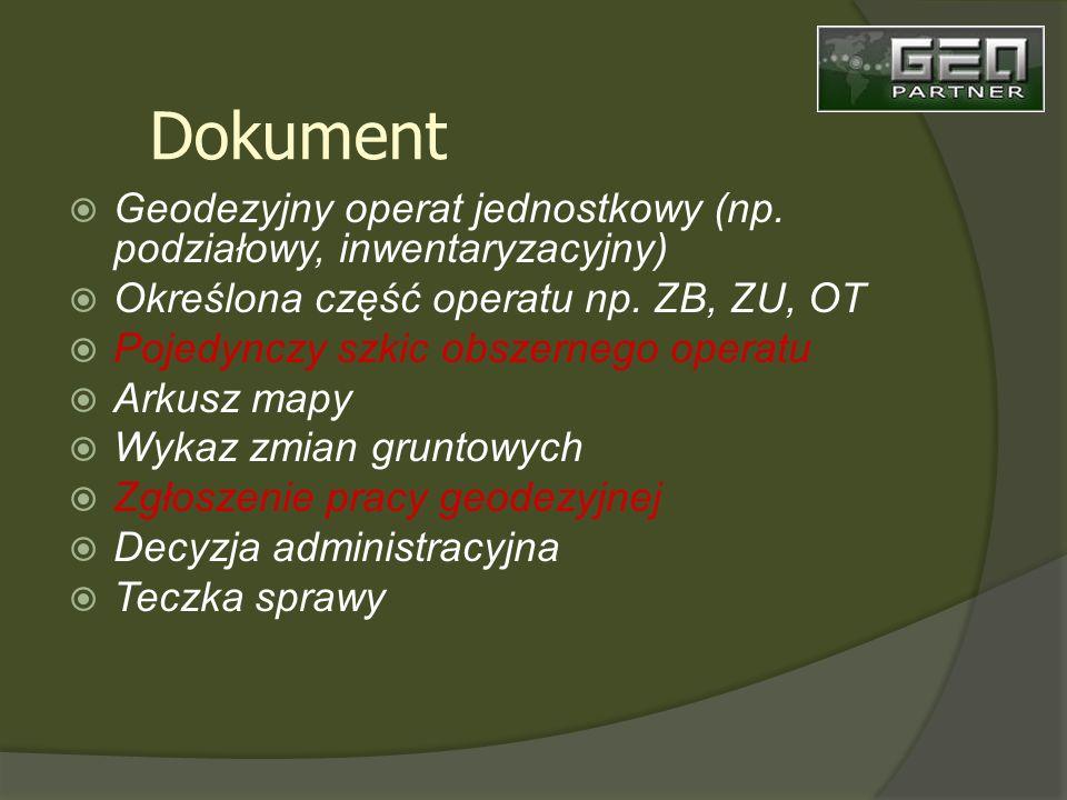 Geodezyjny operat jednostkowy (np. podziałowy, inwentaryzacyjny) Określona część operatu np.