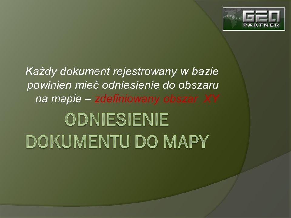 Każdy dokument rejestrowany w bazie powinien mieć odniesienie do obszaru na mapie – zdefiniowany obszar XY