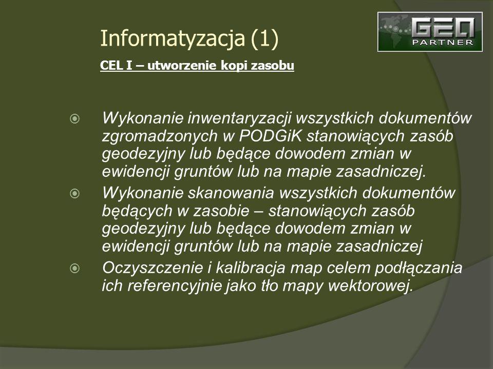 Wykonanie inwentaryzacji wszystkich dokumentów zgromadzonych w PODGiK stanowiących zasób geodezyjny lub będące dowodem zmian w ewidencji gruntów lub na mapie zasadniczej.