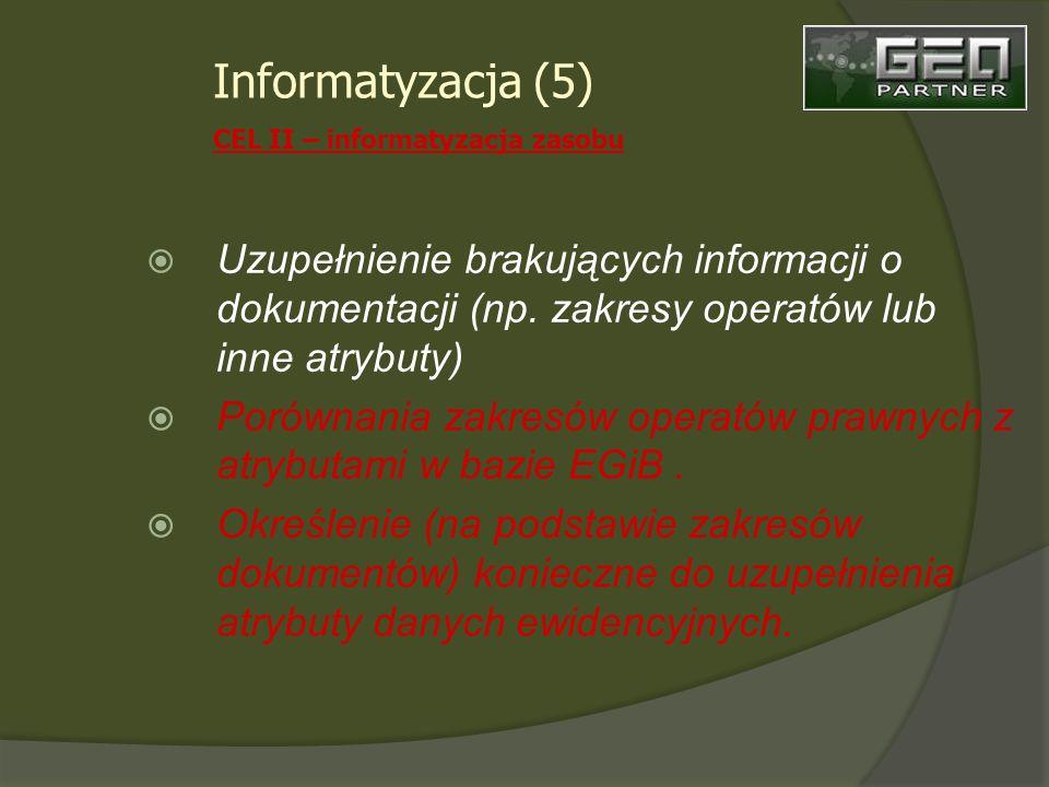 Uzupełnienie brakujących informacji o dokumentacji (np.