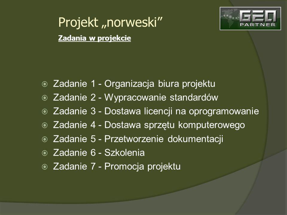 Zadanie 1 - Organizacja biura projektu Zadanie 2 - Wypracowanie standardów Zadanie 3 - Dostawa licencji na oprogramowanie Zadanie 4 - Dostawa sprzętu komputerowego Zadanie 5 - Przetworzenie dokumentacji Zadanie 6 - Szkolenia Zadanie 7 - Promocja projektu Projekt norweski Zadania w projekcie