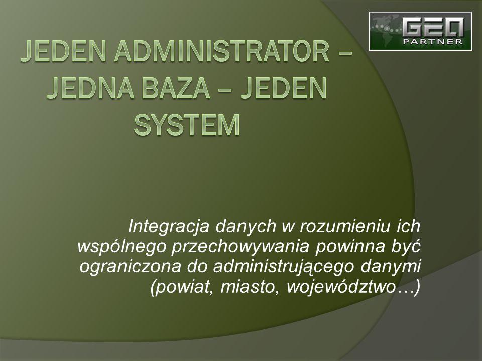 Integracja danych w rozumieniu ich wspólnego przechowywania powinna być ograniczona do administrującego danymi (powiat, miasto, województwo…)