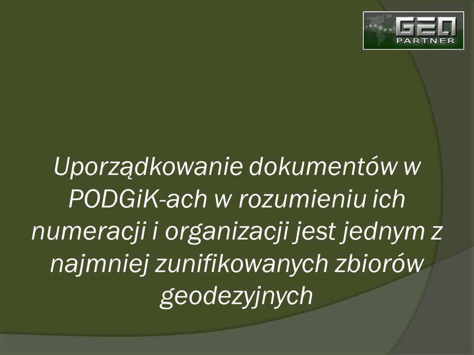 Uporządkowanie dokumentów w PODGiK-ach w rozumieniu ich numeracji i organizacji jest jednym z najmniej zunifikowanych zbiorów geodezyjnych