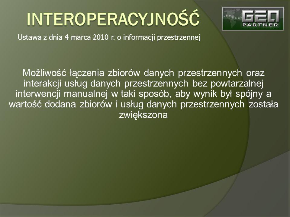 Możliwość łączenia zbiorów danych przestrzennych oraz interakcji usług danych przestrzennych bez powtarzalnej interwencji manualnej w taki sposób, aby wynik był spójny a wartość dodana zbiorów i usług danych przestrzennych została zwiększona Ustawa z dnia 4 marca 2010 r.