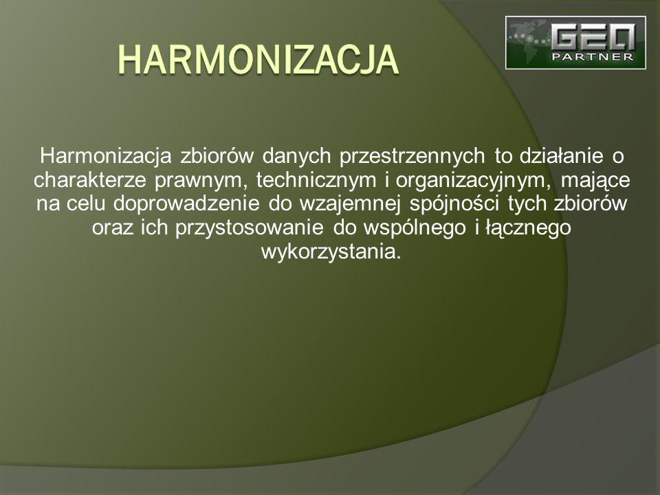 Harmonizacja zbiorów danych przestrzennych to działanie o charakterze prawnym, technicznym i organizacyjnym, mające na celu doprowadzenie do wzajemnej spójności tych zbiorów oraz ich przystosowanie do wspólnego i łącznego wykorzystania.