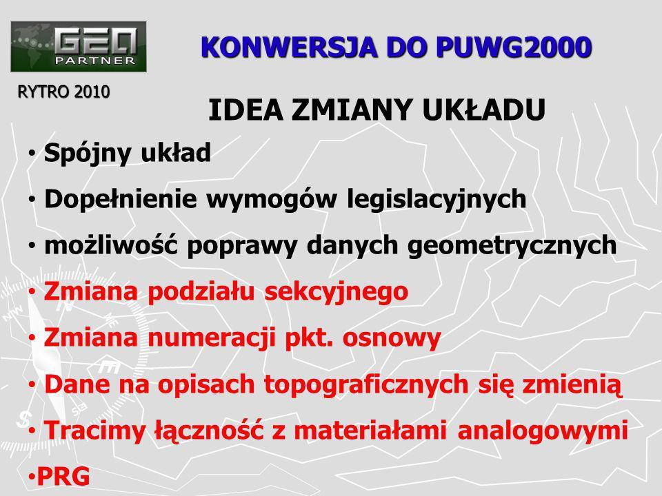 KONWERSJA DO PUWG2000 RYTRO 2010 IDEA ZMIANY UKŁADU Spójny układ Dopełnienie wymogów legislacyjnych możliwość poprawy danych geometrycznych Zmiana podziału sekcyjnego Zmiana numeracji pkt.