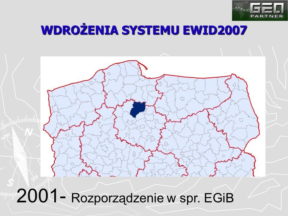 WDROŻENIA SYSTEMU EWID2007 2001- Rozporządzenie w spr. EGiB