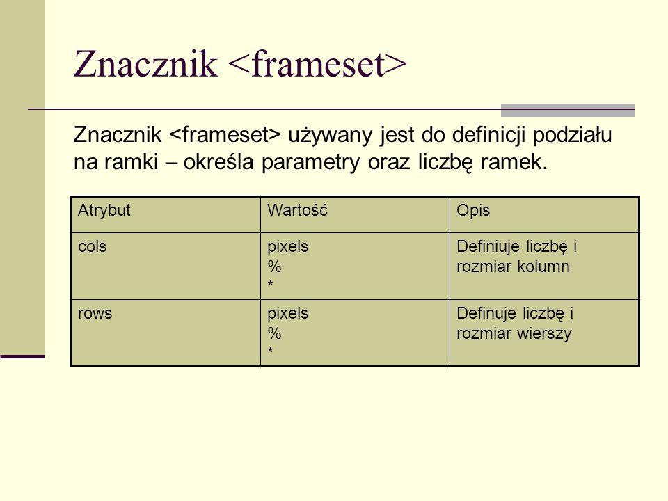 Znacznik Znacznik używany jest do definicji podziału na ramki – określa parametry oraz liczbę ramek.