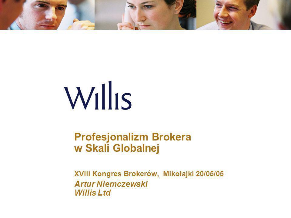 2 Profesjonalizm Brokera w Skali Globalnej Dlaczego motywy działań firm brokerskich podległy zarzutom w USA w 2004 Dlaczego powstaje konflikt interesów w firmie brokerskiej Nowy model działania w sektorze ubezpieczeń Model profesjonalizmu brokera Zastosowanie w firmie Willis