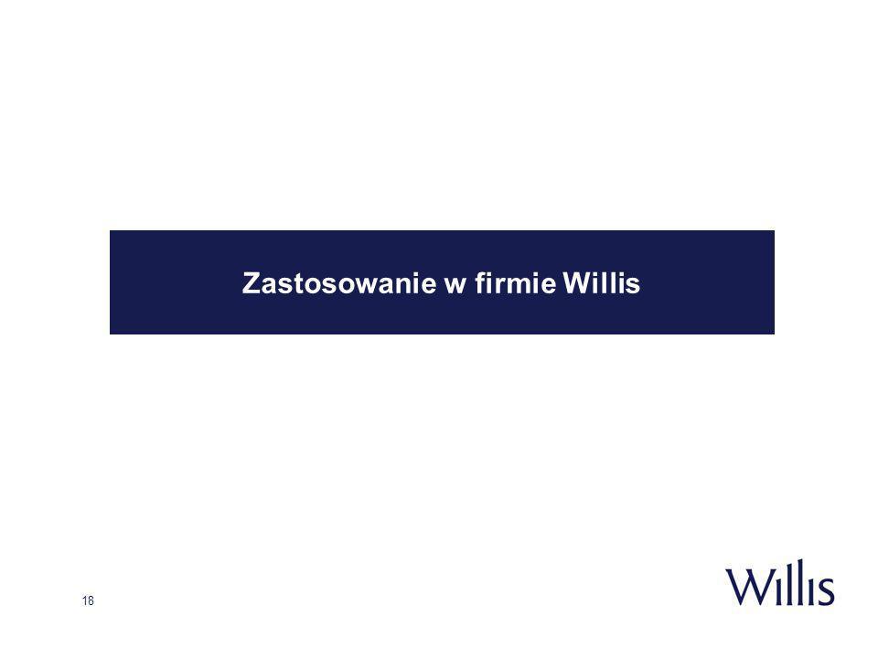 18 Zastosowanie w firmie Willis
