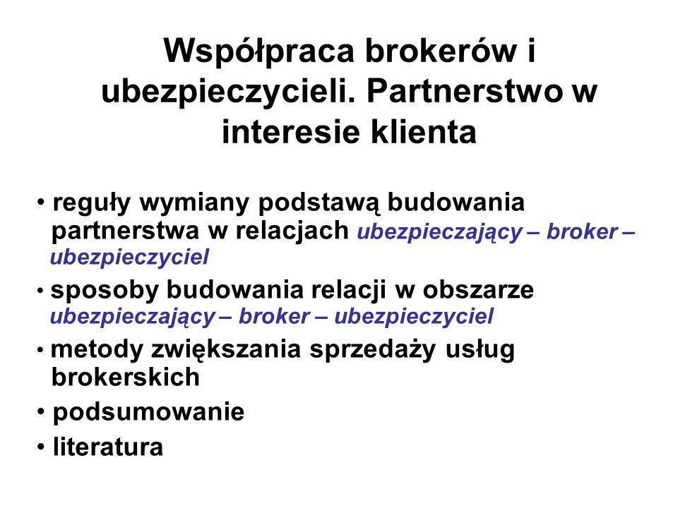 Współpraca brokerów i ubezpieczycieli. Partnerstwo w interesie klienta reguły wymiany podstawą budowania partnerstwa w relacjach ubezpieczający – brok