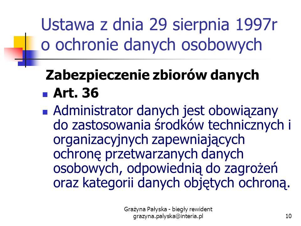 Grażyna Pałyska - biegły rewident grazyna.palyska@interia.pl10 Ustawa z dnia 29 sierpnia 1997r o ochronie danych osobowych Zabezpieczenie zbiorów dany