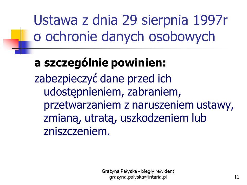 Grażyna Pałyska - biegły rewident grazyna.palyska@interia.pl11 Ustawa z dnia 29 sierpnia 1997r o ochronie danych osobowych a szczególnie powinien: zab