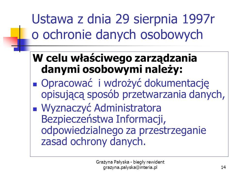 Grażyna Pałyska - biegły rewident grazyna.palyska@interia.pl14 Ustawa z dnia 29 sierpnia 1997r o ochronie danych osobowych W celu właściwego zarządzan
