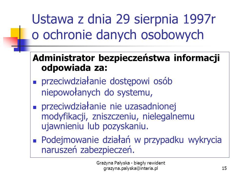 Grażyna Pałyska - biegły rewident grazyna.palyska@interia.pl15 Ustawa z dnia 29 sierpnia 1997r o ochronie danych osobowych Administrator bezpieczeństw