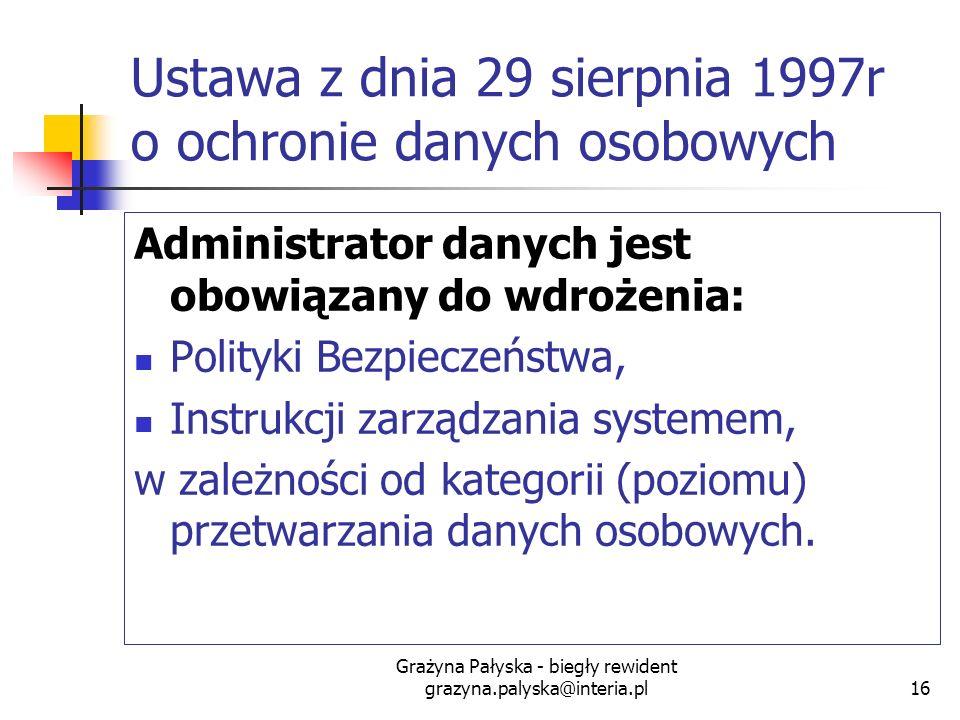 Grażyna Pałyska - biegły rewident grazyna.palyska@interia.pl16 Ustawa z dnia 29 sierpnia 1997r o ochronie danych osobowych Administrator danych jest o