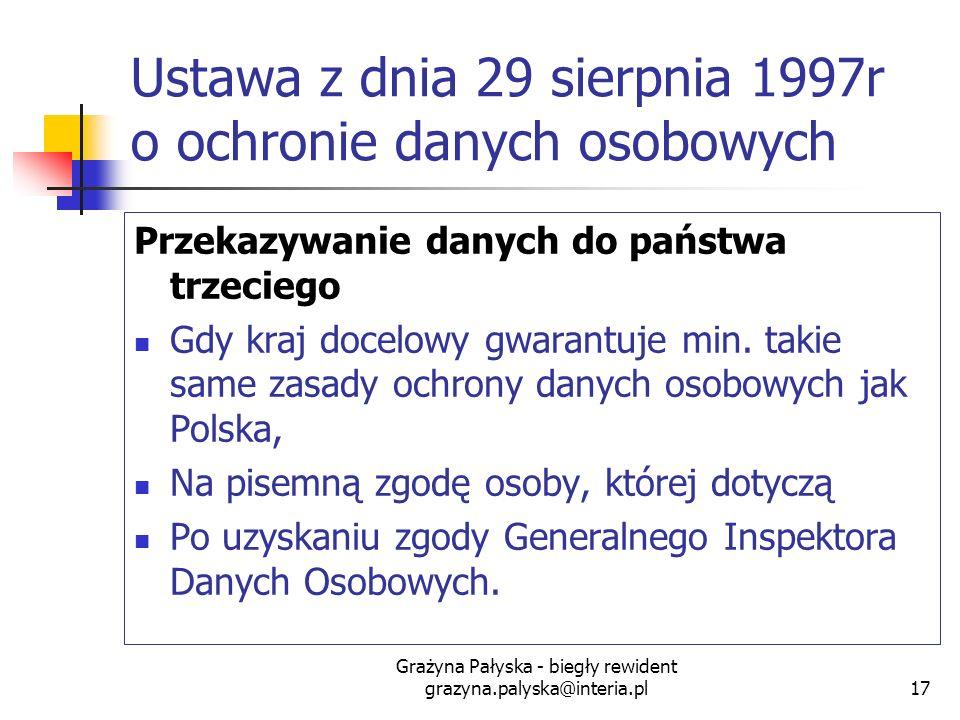 Grażyna Pałyska - biegły rewident grazyna.palyska@interia.pl17 Ustawa z dnia 29 sierpnia 1997r o ochronie danych osobowych Przekazywanie danych do pań