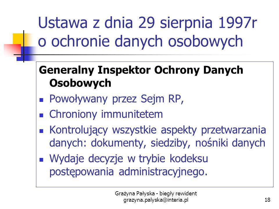 Grażyna Pałyska - biegły rewident grazyna.palyska@interia.pl18 Ustawa z dnia 29 sierpnia 1997r o ochronie danych osobowych Generalny Inspektor Ochrony