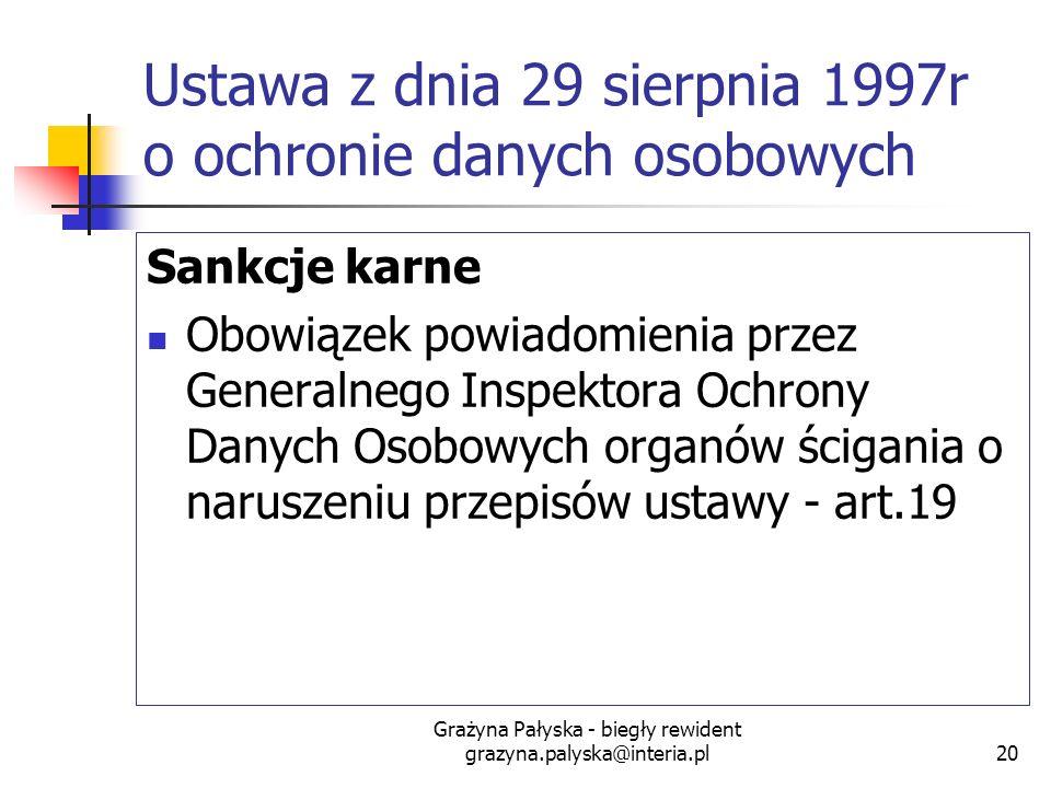 Grażyna Pałyska - biegły rewident grazyna.palyska@interia.pl20 Ustawa z dnia 29 sierpnia 1997r o ochronie danych osobowych Sankcje karne Obowiązek pow