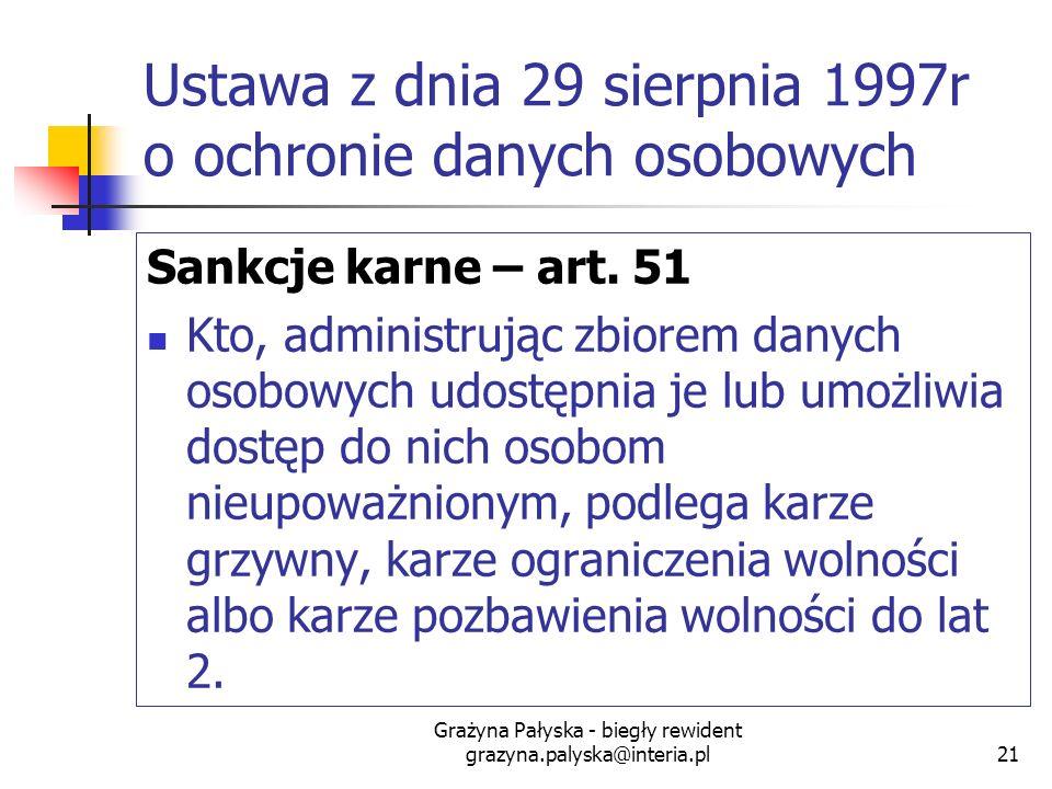 Grażyna Pałyska - biegły rewident grazyna.palyska@interia.pl21 Ustawa z dnia 29 sierpnia 1997r o ochronie danych osobowych Sankcje karne – art. 51 Kto