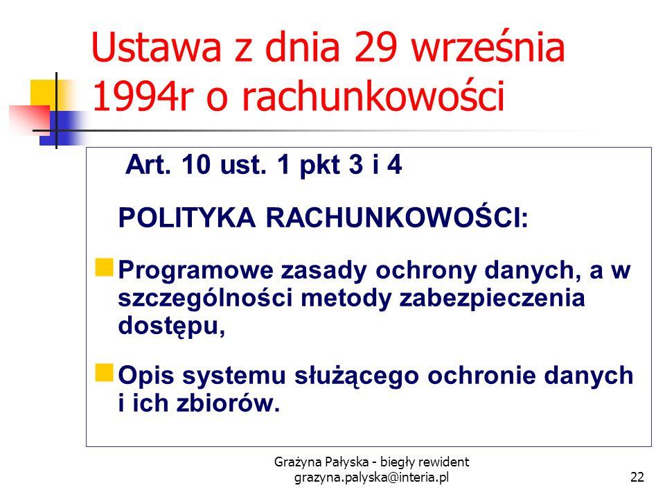 Grażyna Pałyska - biegły rewident grazyna.palyska@interia.pl22 Ustawa z dnia 29 września 1994r o rachunkowości Art. 10 ust. 1 pkt 3 i 4 POLITYKA RACHU