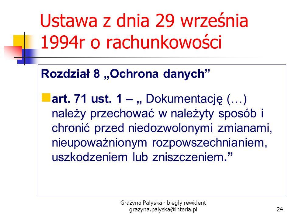 Grażyna Pałyska - biegły rewident grazyna.palyska@interia.pl24 Ustawa z dnia 29 września 1994r o rachunkowości Rozdział 8 Ochrona danych art. 71 ust.