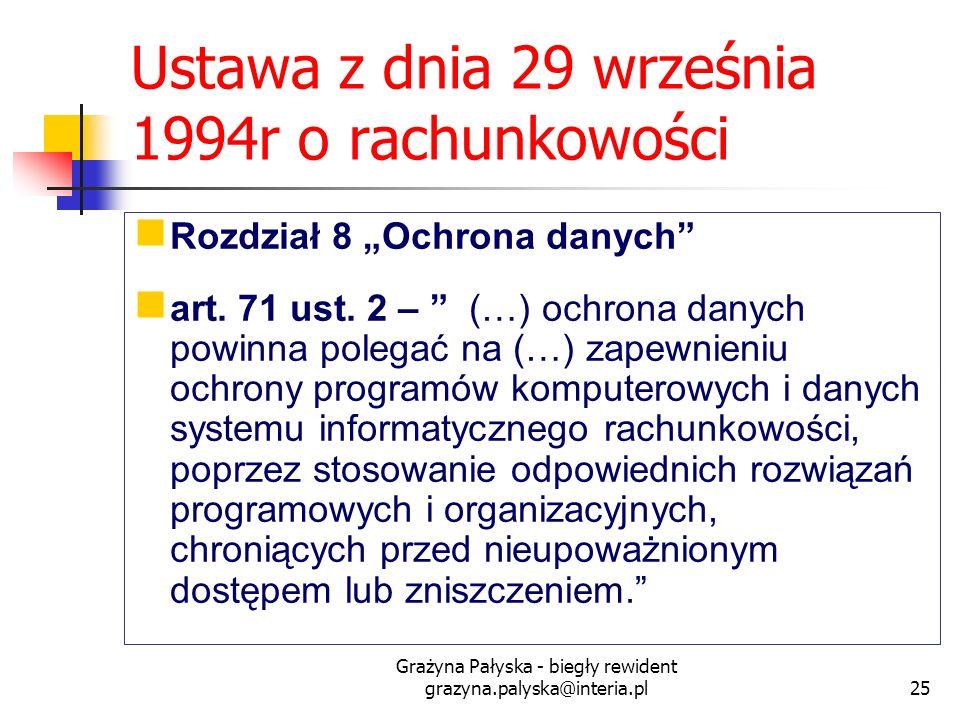 Grażyna Pałyska - biegły rewident grazyna.palyska@interia.pl25 Ustawa z dnia 29 września 1994r o rachunkowości Rozdział 8 Ochrona danych art. 71 ust.