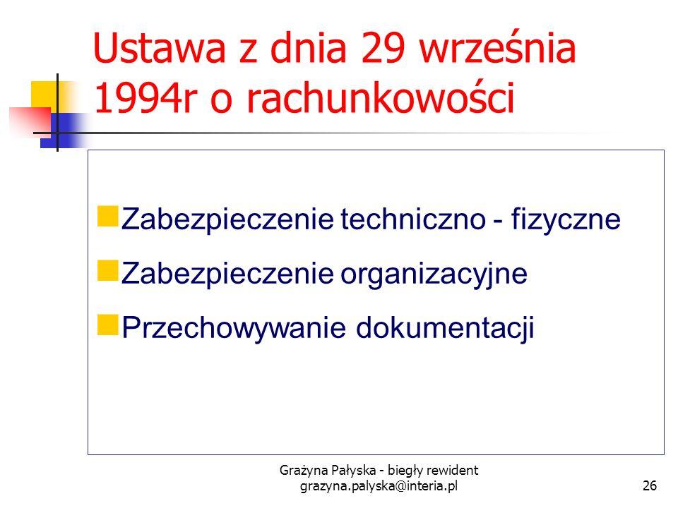 Grażyna Pałyska - biegły rewident grazyna.palyska@interia.pl26 Ustawa z dnia 29 września 1994r o rachunkowości Zabezpieczenie techniczno - fizyczne Za