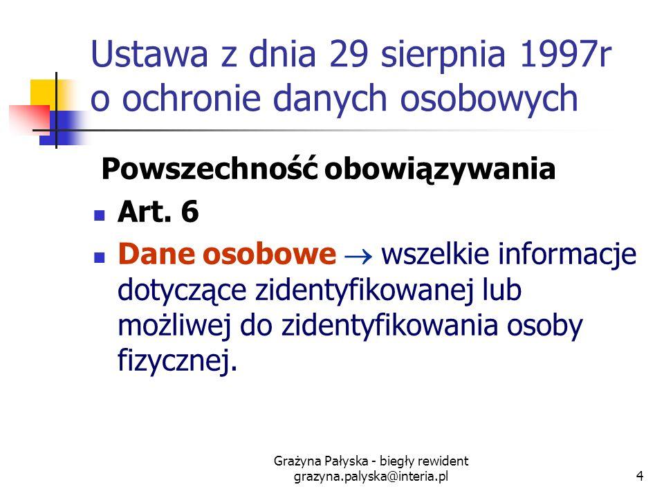 Grażyna Pałyska - biegły rewident grazyna.palyska@interia.pl4 Ustawa z dnia 29 sierpnia 1997r o ochronie danych osobowych Powszechność obowiązywania A