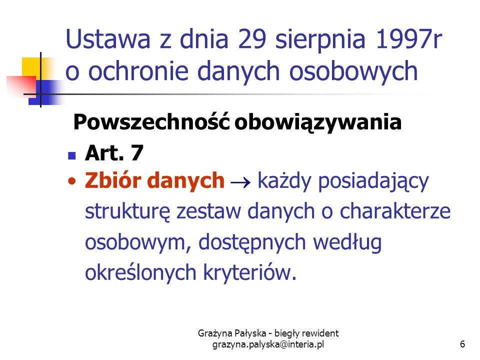 Grażyna Pałyska - biegły rewident grazyna.palyska@interia.pl6 Ustawa z dnia 29 sierpnia 1997r o ochronie danych osobowych Powszechność obowiązywania A