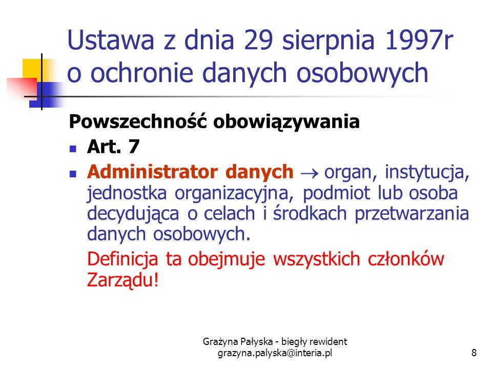 Grażyna Pałyska - biegły rewident grazyna.palyska@interia.pl8 Ustawa z dnia 29 sierpnia 1997r o ochronie danych osobowych Powszechność obowiązywania A