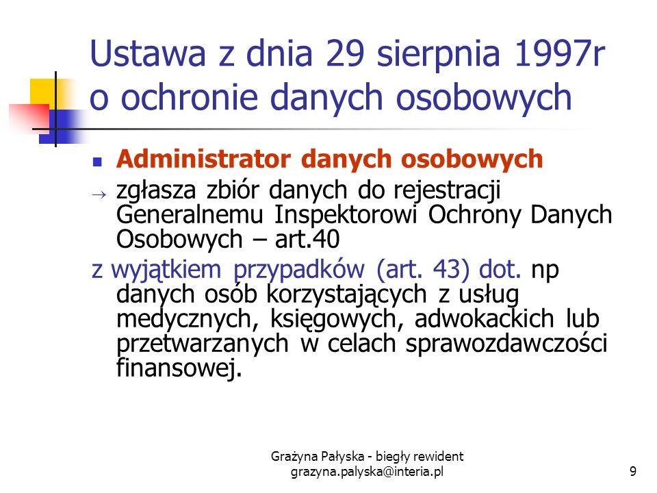 Grażyna Pałyska - biegły rewident grazyna.palyska@interia.pl9 Ustawa z dnia 29 sierpnia 1997r o ochronie danych osobowych Administrator danych osobowy