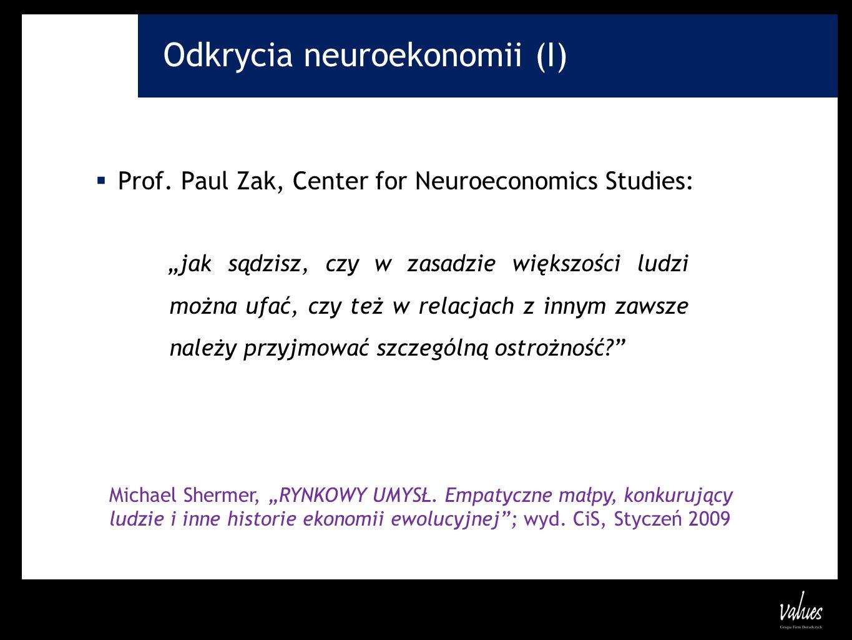 Odkrycia neuroekonomii (I) Prof. Paul Zak, Center for Neuroeconomics Studies: jak sądzisz, czy w zasadzie większości ludzi można ufać, czy też w relac