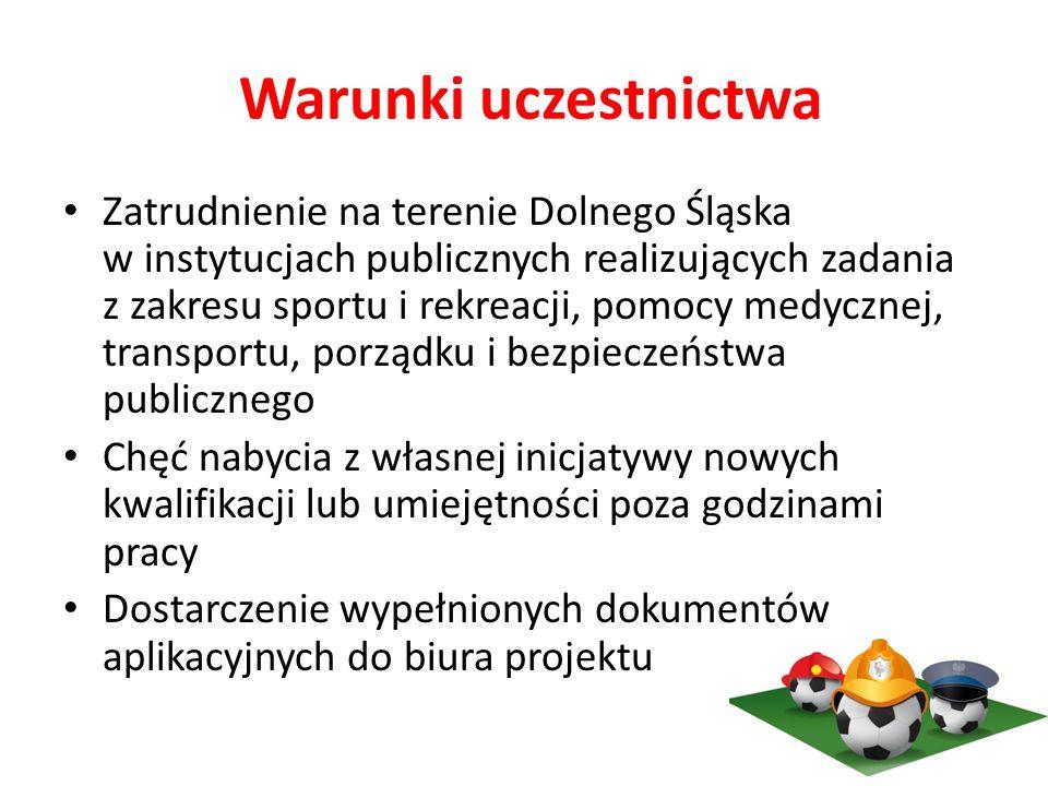 Warunki uczestnictwa Zatrudnienie na terenie Dolnego Śląska w instytucjach publicznych realizujących zadania z zakresu sportu i rekreacji, pomocy medycznej, transportu, porządku i bezpieczeństwa publicznego Chęć nabycia z własnej inicjatywy nowych kwalifikacji lub umiejętności poza godzinami pracy Dostarczenie wypełnionych dokumentów aplikacyjnych do biura projektu