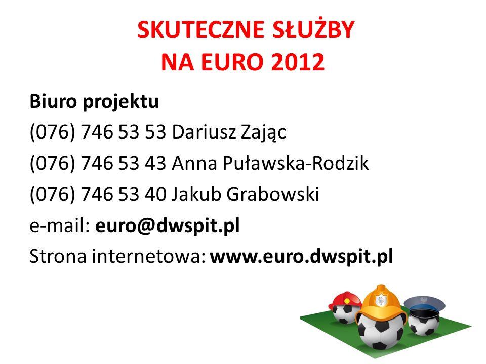 SKUTECZNE SŁUŻBY NA EURO 2012 Biuro projektu (076) 746 53 53 Dariusz Zając (076) 746 53 43 Anna Puławska-Rodzik (076) 746 53 40 Jakub Grabowski e-mail: euro@dwspit.pl Strona internetowa: www.euro.dwspit.pl