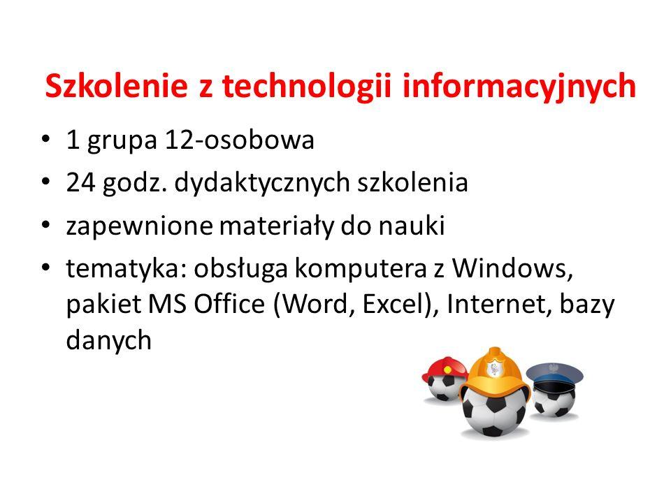 Szkolenie z technologii informacyjnych 1 grupa 12-osobowa 24 godz.