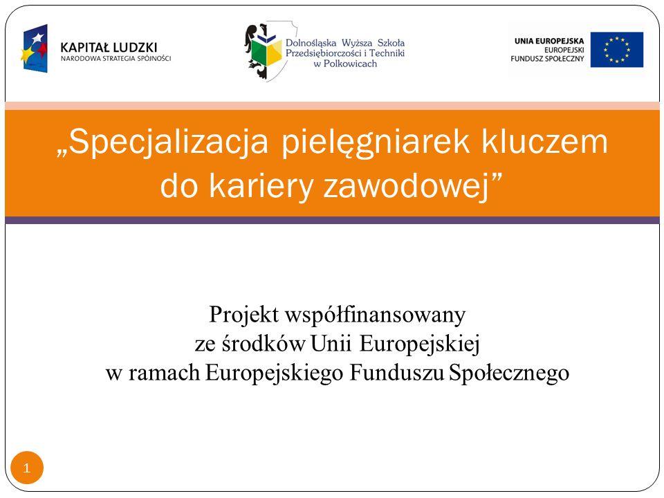 Organizowane szkolenia: specjalizacja w dziedzinie pielęgniarstwa ratunkowego specjalizacja w dziedzinie pielęgniarstwa zachowawczego Główne zadania realizowane w ramach projektu Projekt współfinansowany ze środków Unii Europejskiej w ramach Europejskiego Funduszu Społecznego 2
