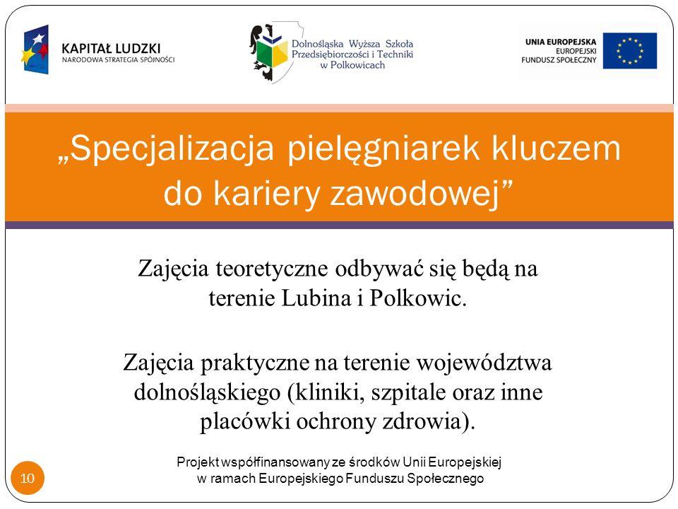 Zajęcia teoretyczne odbywać się będą na terenie Lubina i Polkowic.