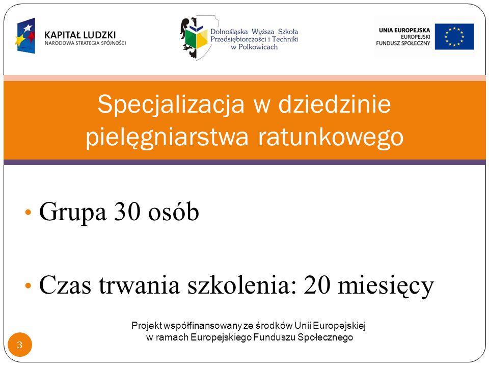 Grupa 30 osób Czas trwania szkolenia: 20 miesięcy Specjalizacja w dziedzinie pielęgniarstwa ratunkowego Projekt współfinansowany ze środków Unii Europejskiej w ramach Europejskiego Funduszu Społecznego 3