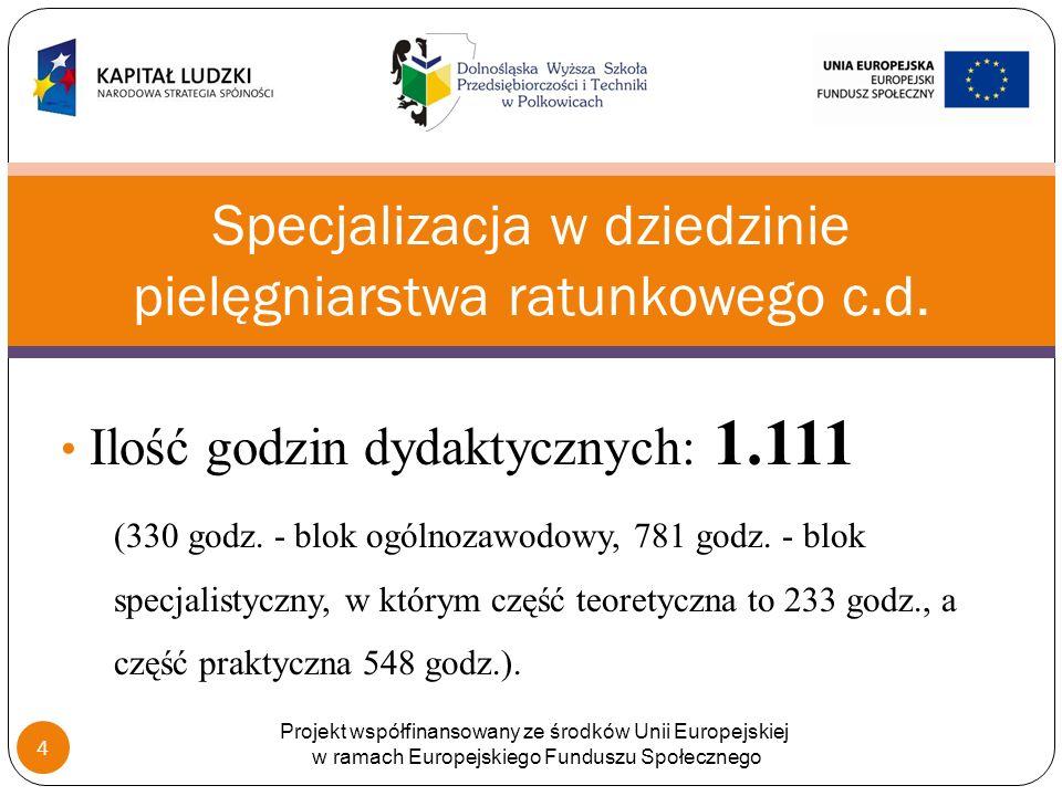 Ilość godzin dydaktycznych: 1.111 (330 godz.- blok ogólnozawodowy, 781 godz.