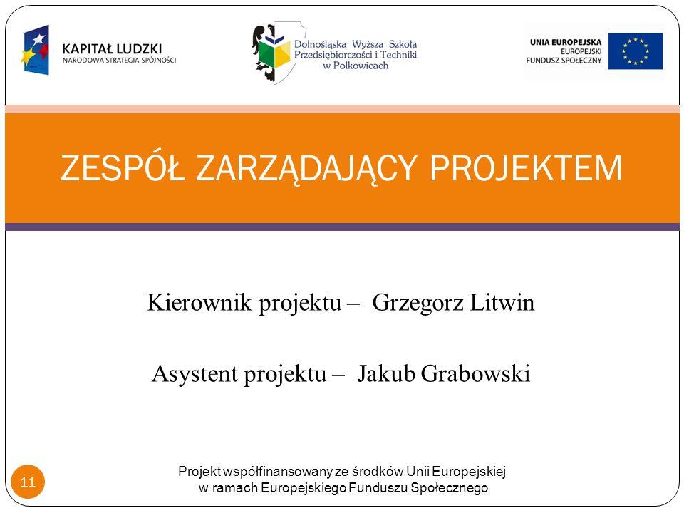 Kierownik projektu – Grzegorz Litwin Asystent projektu – Jakub Grabowski ZESPÓŁ ZARZĄDAJĄCY PROJEKTEM Projekt współfinansowany ze środków Unii Europejskiej w ramach Europejskiego Funduszu Społecznego 11