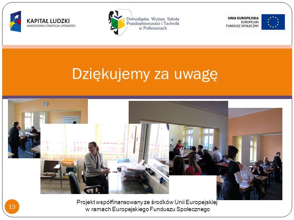 Dziękujemy za uwagę Projekt współfinansowany ze środków Unii Europejskiej w ramach Europejskiego Funduszu Społecznego 13