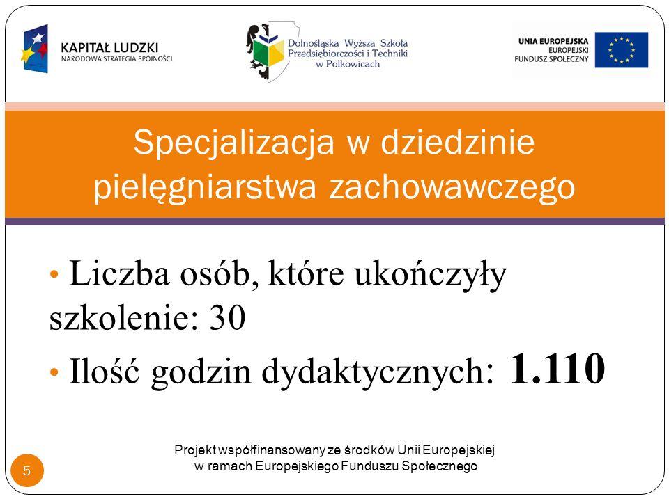 Liczba osób, które ukończyły szkolenie: 30 Ilość godzin dydaktycznych : 1.110 Specjalizacja w dziedzinie pielęgniarstwa zachowawczego Projekt współfinansowany ze środków Unii Europejskiej w ramach Europejskiego Funduszu Społecznego 5
