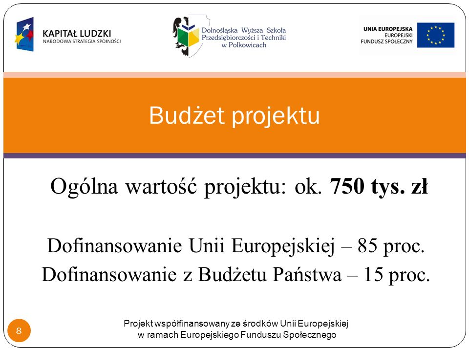 Ogólna wartość projektu: ok. 750 tys. zł Dofinansowanie Unii Europejskiej – 85 proc.