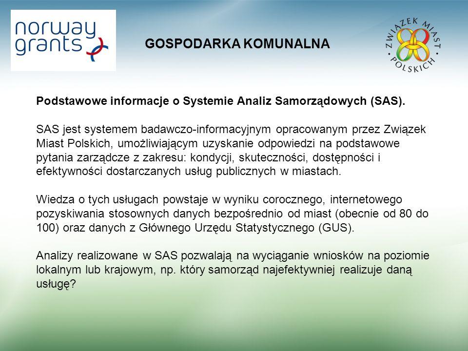 GOSPODARKA KOMUNALNA Podstawowe informacje o Systemie Analiz Samorządowych (SAS).