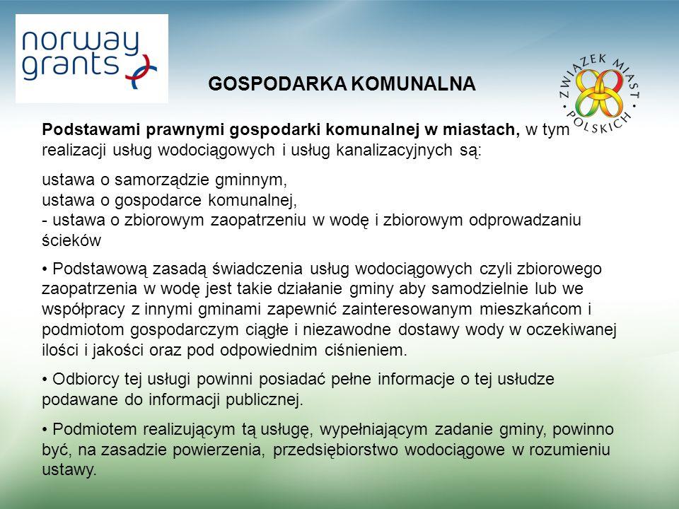 GOSPODARKA KOMUNALNA Zestawienie wartości wskaźników usług komunalnych w tym usług wodociągowych i kanalizacyjnych dla 80 miast za 2007 r.