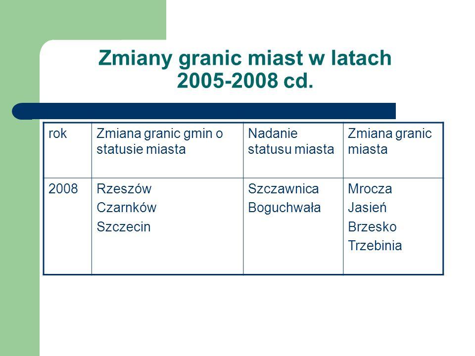 Zmiany granic miast w latach 2005-2008 cd.