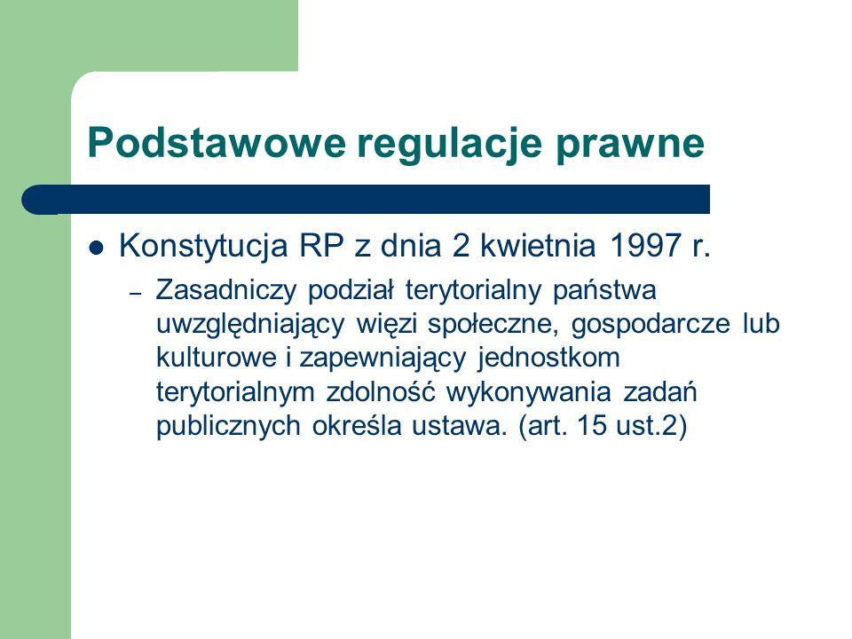 Podstawowe regulacje prawne Konstytucja RP z dnia 2 kwietnia 1997 r. – Zasadniczy podział terytorialny państwa uwzględniający więzi społeczne, gospoda