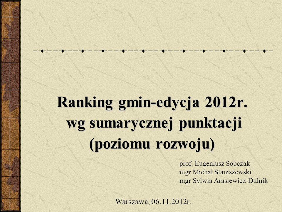 Ranking gmin-edycja 2012r. wg sumarycznej punktacji (poziomu rozwoju) prof. Eugeniusz Sobczak mgr Michał Staniszewski mgr Sylwia Arasiewicz-Dulnik War